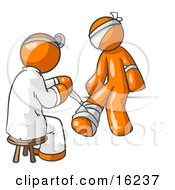 Orange Male Doctor In A Lab Coat Sitting On A Stool And Bandaging An Orange Person That Has Been Hurt On The Head Arm And Ankle Clipart Graphic