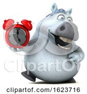 3d Chubby White Horse On A White Background