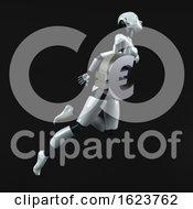 3d Feminine Robot On A Black Background