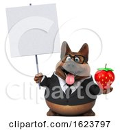 3d Business German Shepherd Dog On A White Background