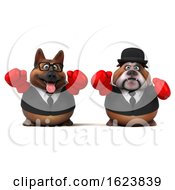 3d Business German Shepherd And Bulldog Wearing Boxing Gloves On A White Background