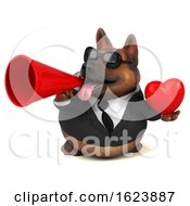 3d Business German Shepherd Dog On A White Background by Julos