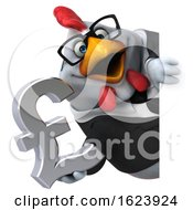 Poster, Art Print Of 3d White Business Chicken On A White Background