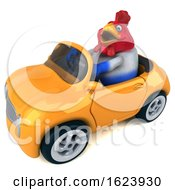 3d Chubby French Chicken Driving A Convertible On A White Background