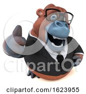 3d Business Orangutan Monkey On A White Background by Julos
