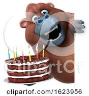 3d Orangutan Monkey On A White Background by Julos