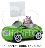 3d Hippo Driving A Convertible On A White Background