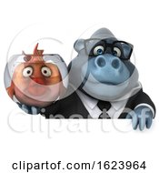 3d Business Gorilla On A White Background by Julos