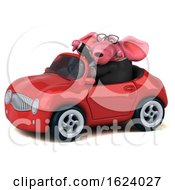 Poster, Art Print Of 3d Pink Business Elephant Driving A Convertible On A White Background