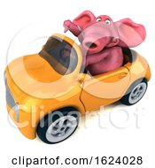 3d Pink Elephant Driving A Convertible On A White Background