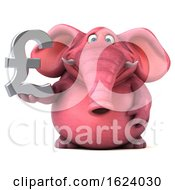 3d Pink Elephant On A White Background
