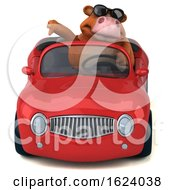 Poster, Art Print Of 3d Brown Cow On A White Background