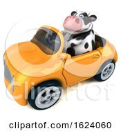 Poster, Art Print Of 3d Holstein Cow Driving A Convertible On A White Background