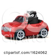 Poster, Art Print Of 3d Business Holstein Cow Driving A Convertible On A White Background