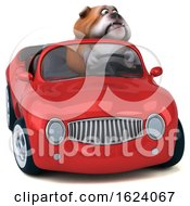 Poster, Art Print Of 3d Bulldog Driving A Convertible On A White Background