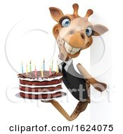 Poster, Art Print Of 3d Business Giraffe Holding A Birthday Cake On A White Background
