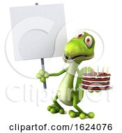 3d Green Gecko Holding A Birthday Cake On A White Background