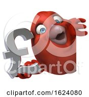 3d Red Bird Holding A Lira Symbol On A White Background