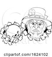 Poster, Art Print Of Leprechaun Bowling Mascot Ripping Background