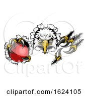 Eagle Cricket Cartoon Mascot Ripping Background by AtStockIllustration