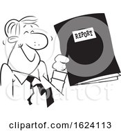 Cartoon Black And White Happy Business Man Holding A Good Report
