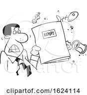 Cartoon Angry Black Business Man Holding A Garbage Report