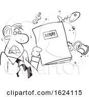 Cartoon Black And White Angry Business Man Holding A Garbage Report