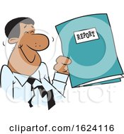 Cartoon Happy Black Business Man Holding A Good Report