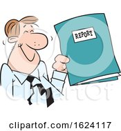 Cartoon Happy White Business Man Holding A Good Report
