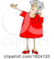 Cartoon White Senior Woman Gesturing And Talking On A Cell Phone
