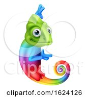 Chameleon Cartoon Peeking Around Sign Pointing by AtStockIllustration