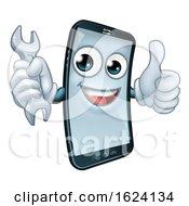 Poster, Art Print Of Mobile Phone Repair Spanner Thumbs Up Mascot