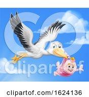 Poster, Art Print Of Stork Cartoon Pregnancy Myth Bird With Baby Girl