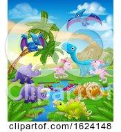 Dinosaur Cartoon Prehistoric Landscape Scene