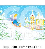Boy Sledding Down A Hill On A Winter Day