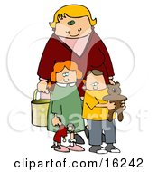 Blond Woman A Mother Standing Behind Her Two Children A Red Haired Girl In A Green Dress Who Is Carrying Her Doll And A Boy Her Son Who Is Wearing A Yellow Shirt And Carrying His Teddy Bear