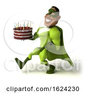3d Buff Black Male Green Super Hero On A White Background