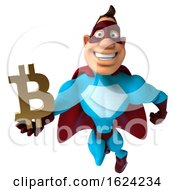 Poster, Art Print Of 3d Buff White Male Red And Blue Super Hero On A White Background