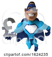 3d Buff Black Male Blue Super Hero On A White Background