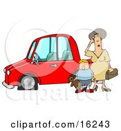 Worried Woman Sratcing Her Forehead And Wondering What To Do While Her Son Stands Beside Her Holding His Teddy Bear By Their Red Car With A Flat Tire