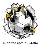 Poster, Art Print Of Soccer Ball Eagle Claw Talons Tearing Background