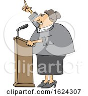 Cartoon White Female Politician Speaking At A Podium