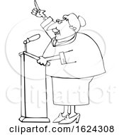 Cartoon Black And White Female Politician Speaking At A Podium