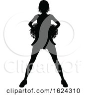 Cheerleader With Pom Poms Silhouette by AtStockIllustration