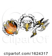 Eagle Basketball Cartoon Mascot Tearing Background