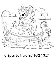 Black And White Pirate Captain In A Boat