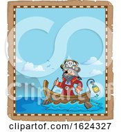 Pirate Captain In A Boat Parchment Border
