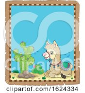 Cute Llama In A Desert Border by visekart