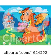 Dragon Holding A Cake Near A Castle