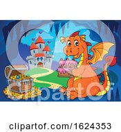 Dragon Holding A Cake In A Cave Near A Castle